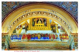Eastern door architecture fresco of the Grand Audience fo the 1911 Coronation of King Vajiravudh (Rama VI) depicting the King seated on the Busabokmala Throne of the Dusit Thone Hall in the Grand Palace