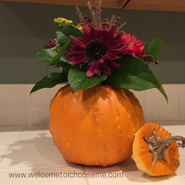 Pumpkin Vase - Natural Autumn Floral Arrangement - I Choose Me