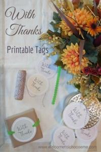 With Thanks Printable Tags-I Choose Me