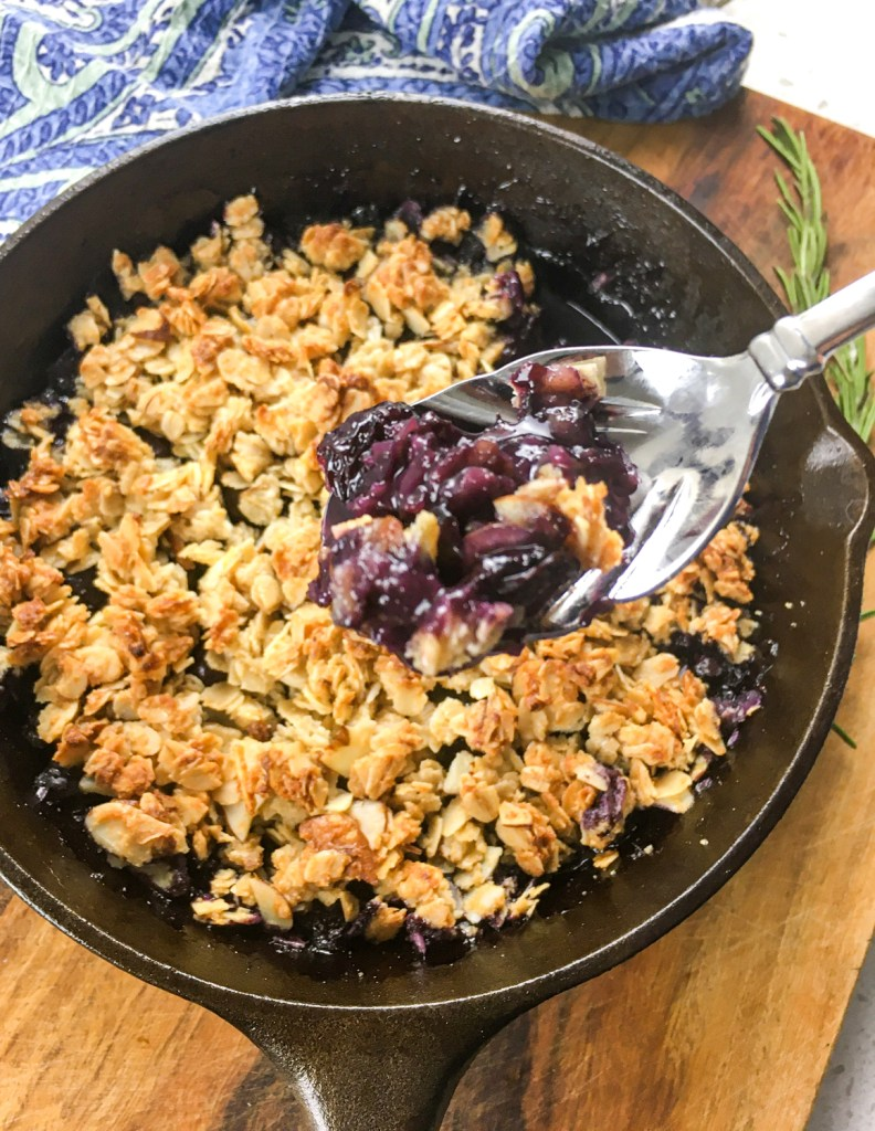 Rustic Blueberry Crisp on a spoon