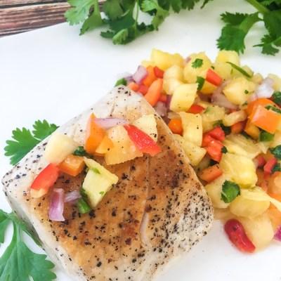 Spicy Pineapple Salsa Swordfish Steak