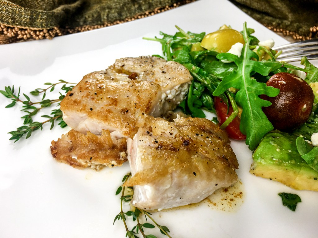 Seared Grouper fish on a plate