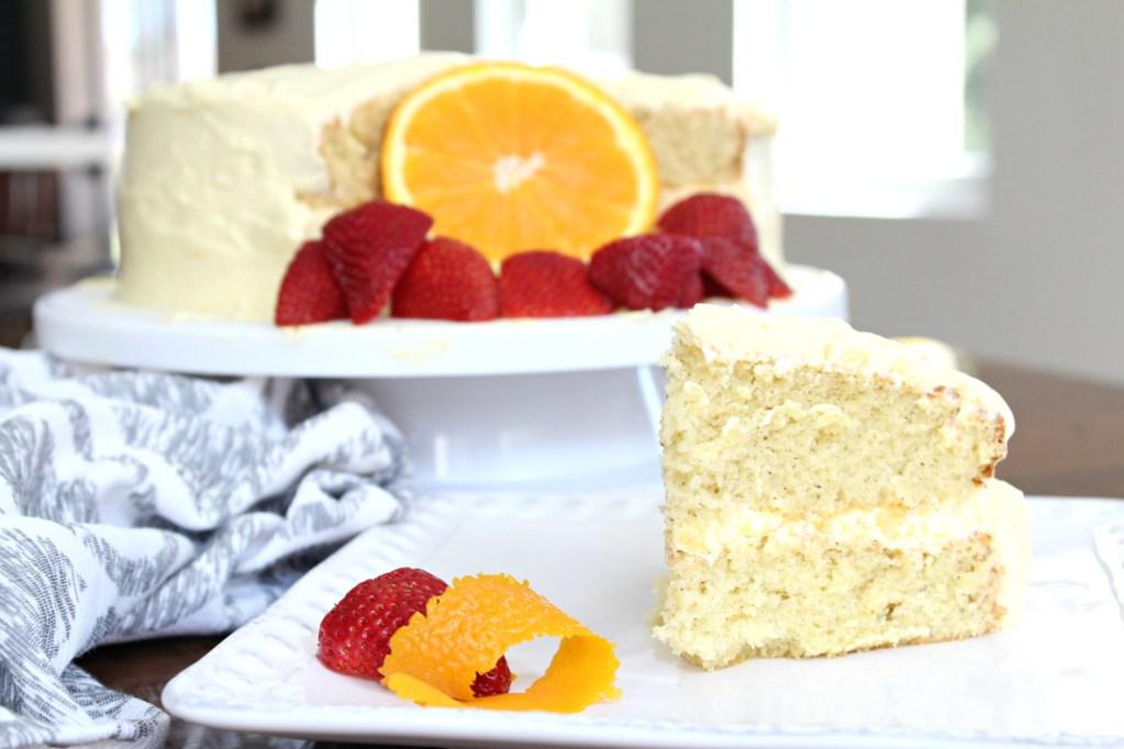 Sheila;'s Orange Vanilla Cake on a cake stand