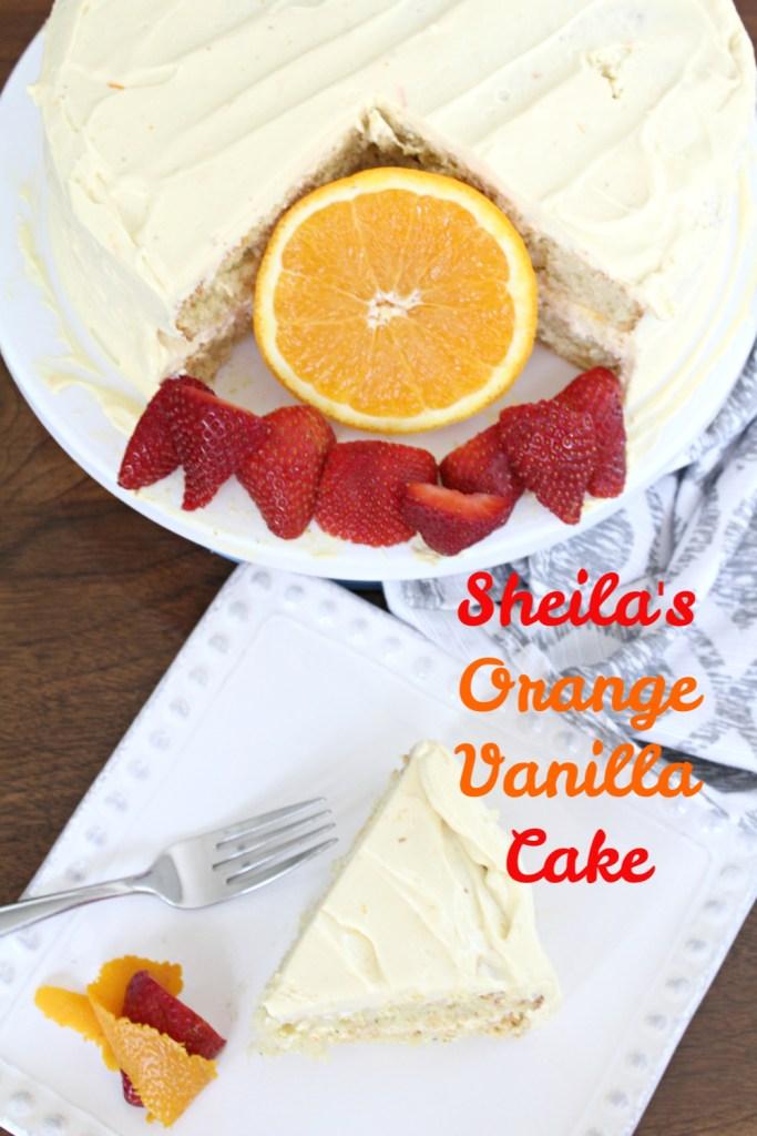 Sheila's Orange Vanilla cake on a plate