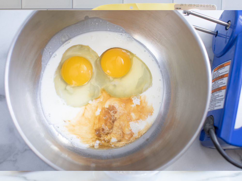 Eggs in a mixing bowl