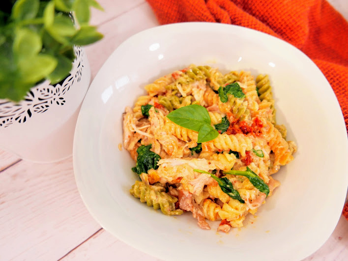 Tuscan Chicken Pasta in a bowl
