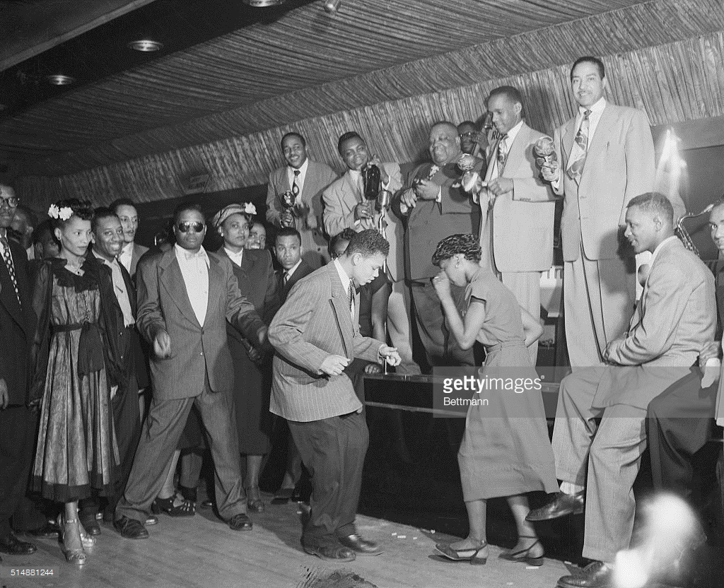 1950 – Dancing in front of the bandstand in the Savoy Ballroom. Source: Bettmann, Getty Image (ID 514881244).