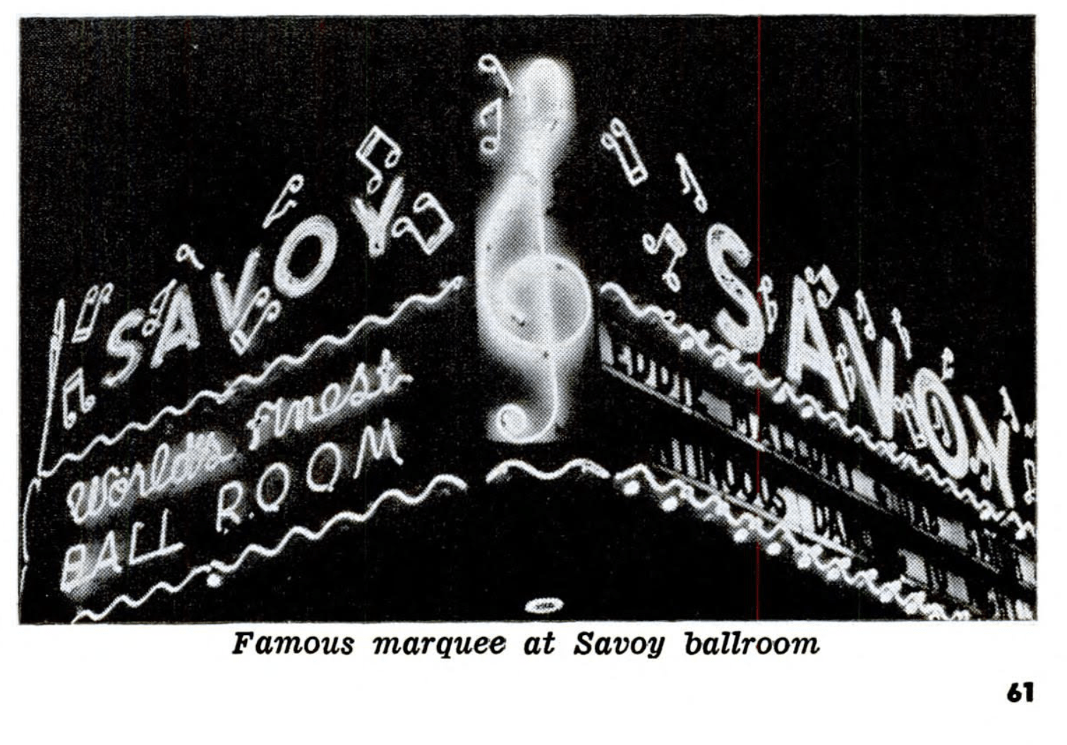 1953 – Shot of the Savoy Ballroom marquee. Source: Jet Magazine, 20th August 1953, p61.