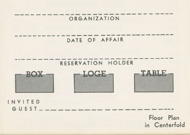 The Savoy Ballroom Reservation Guide (undated) courtesy of Ms Irene Phipps in memory of her father Edgar Phipps