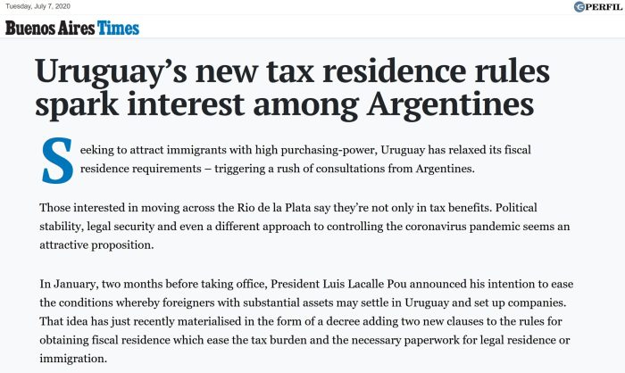 Uruguay's new tax residence rules spark interest among Argentines - Buenos Aires Times