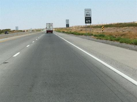Speed limit of 80 MPH. Apparently you can get a ticket for going just slightly over 80. Makes sense.