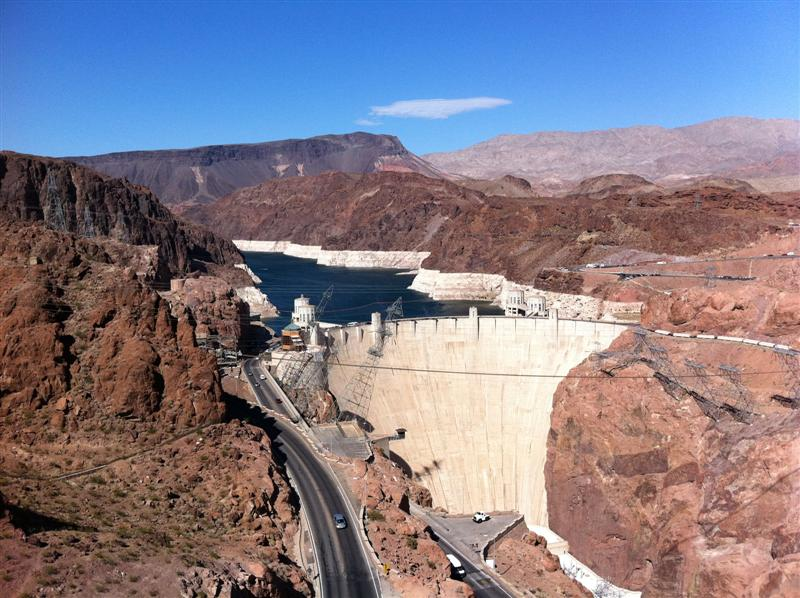 View of the dam from the new bridge. The engineering is amazing.