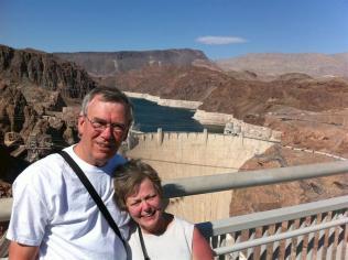 Paul & Dorothy on the pedestrian bridge above the dam.