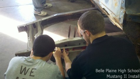 Laying out the measuring points on the frame.
