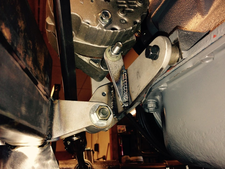 Clean and simple engine mount with alternator tab built in.