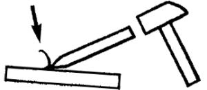 cast steel or unalloyed steel chisel test illustration