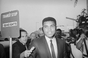 Muhammad Ali arrives at federal court in Houston for his trial on a charge of refusing to be inducted into the Army.