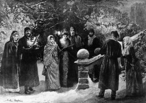 carolers on christmas eve 1891 original artwork drawn by arthur hopkins photo by hulton archivegetty images