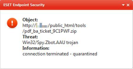 ESET intercepting malware spread via bogus British Airways email