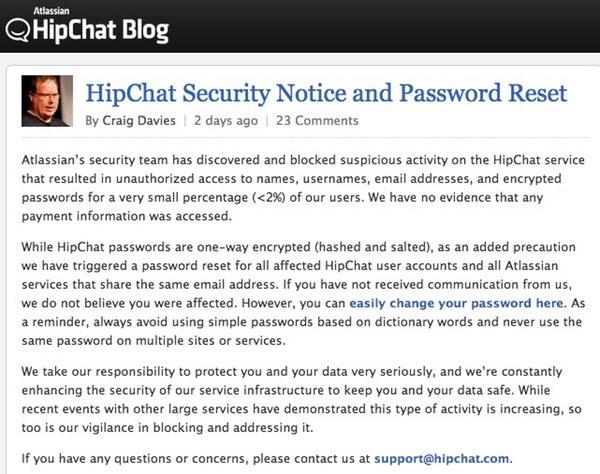 HipChat statement