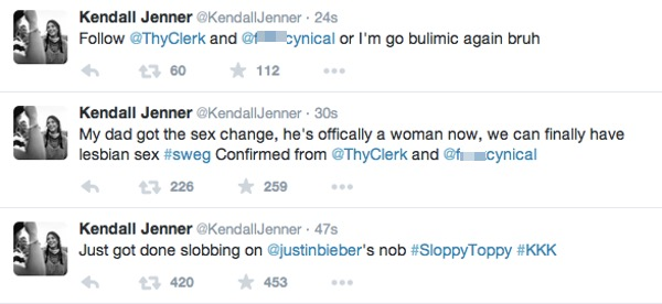 Tweets from Kendall Jenner's account