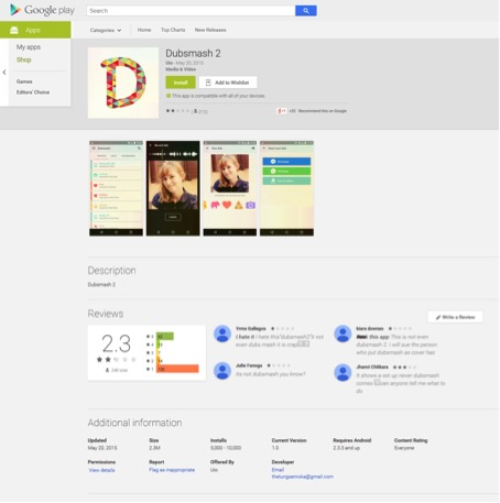 Figure 1 Fake Dubsmash 2 from Google Play – available between May 20 and May 22