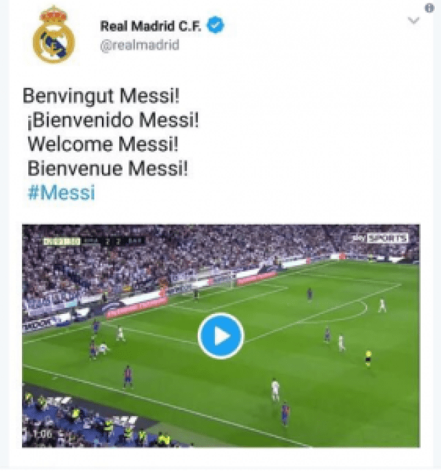 Hacked tweet anoucing the transfer of Messi from Barcelona to Real Madrid