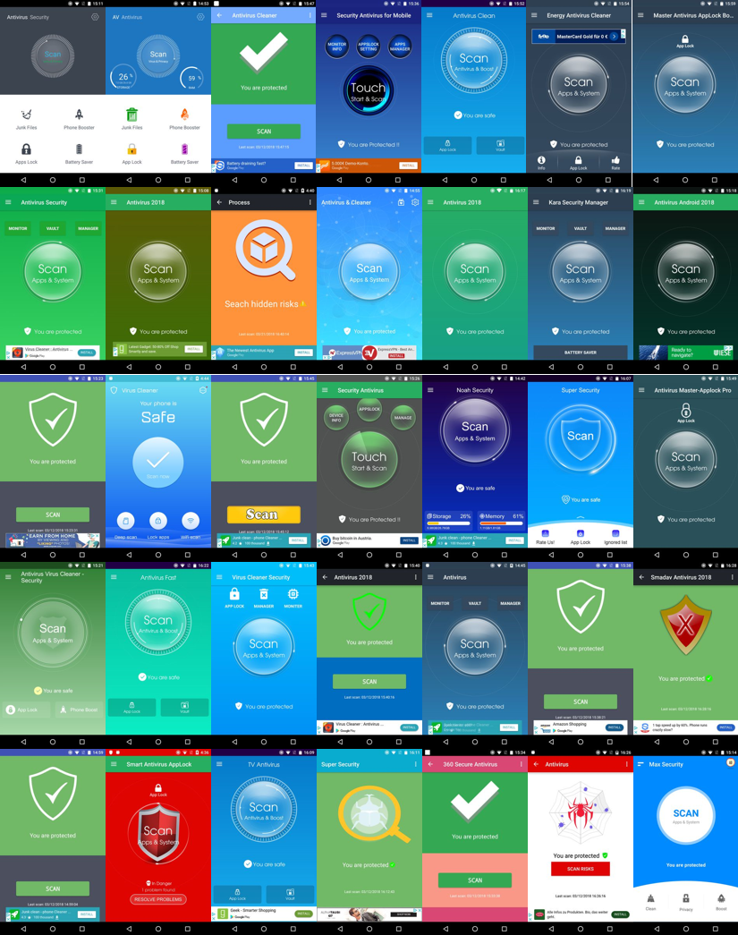 Figure 1 – The 35 apps in question on Google Play