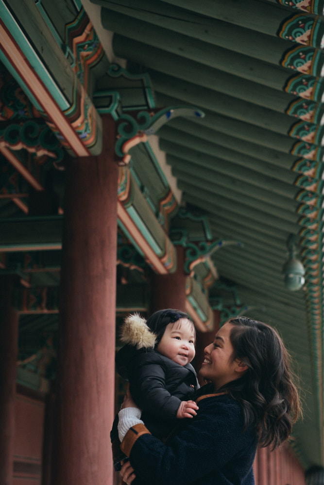Mother and Daughter during Family Photography Session in Seoul