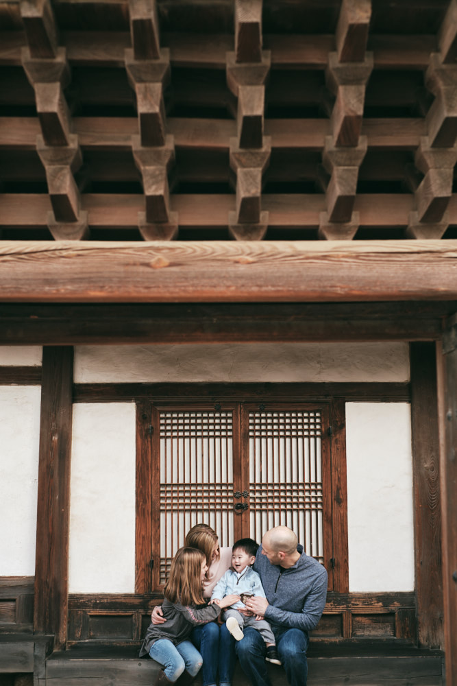 The beautiful architecture of Changdeokgung with the beautiful DeVito family