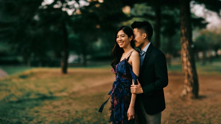 The empty park was the perfect scene for Stefanie and Shin's engagement photography