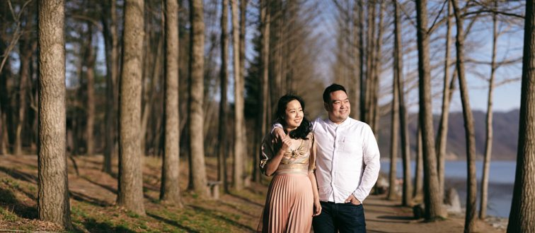 Nami Island is a beautiful location for an engagement or post-proposal photoshoot