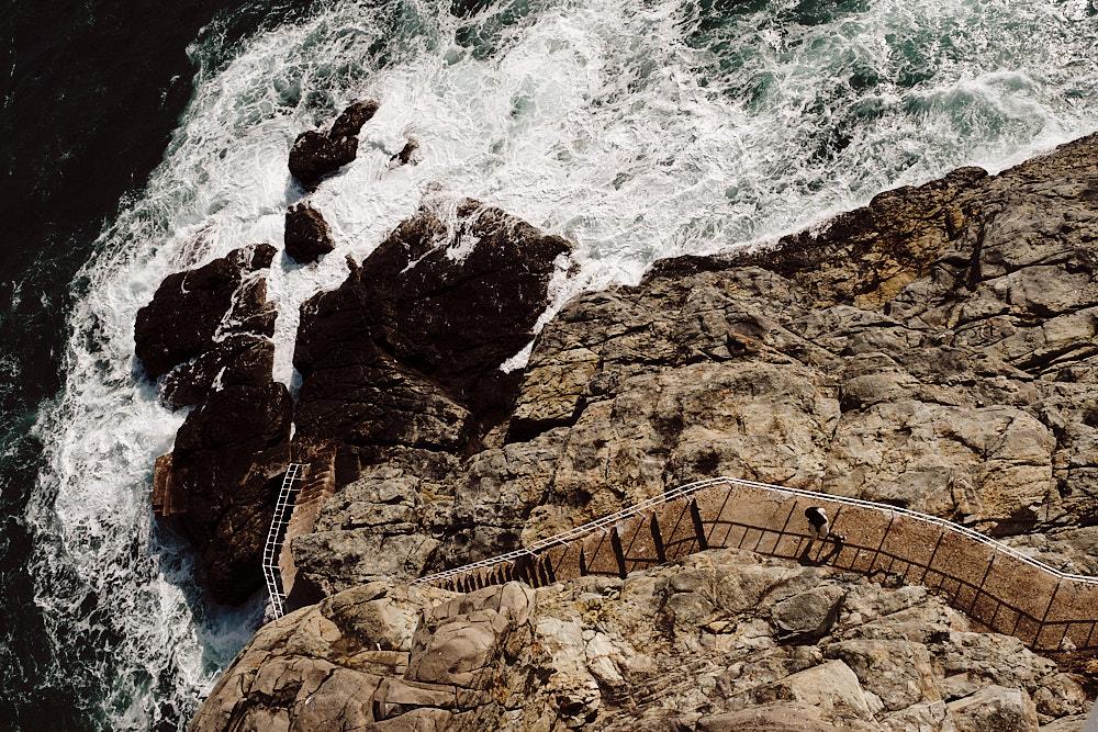 Looking Down at the Rocks and Waves of Oryukdo