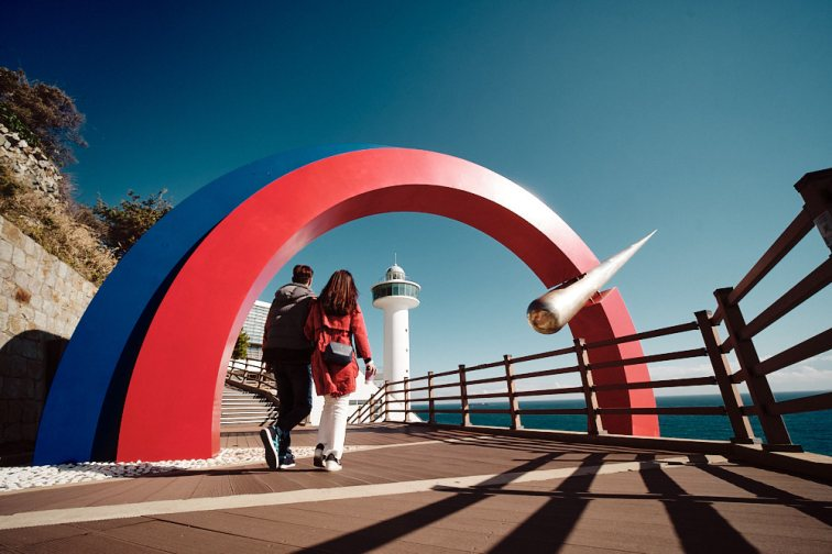 A Couple Enters the Yeongdo Lighthouse