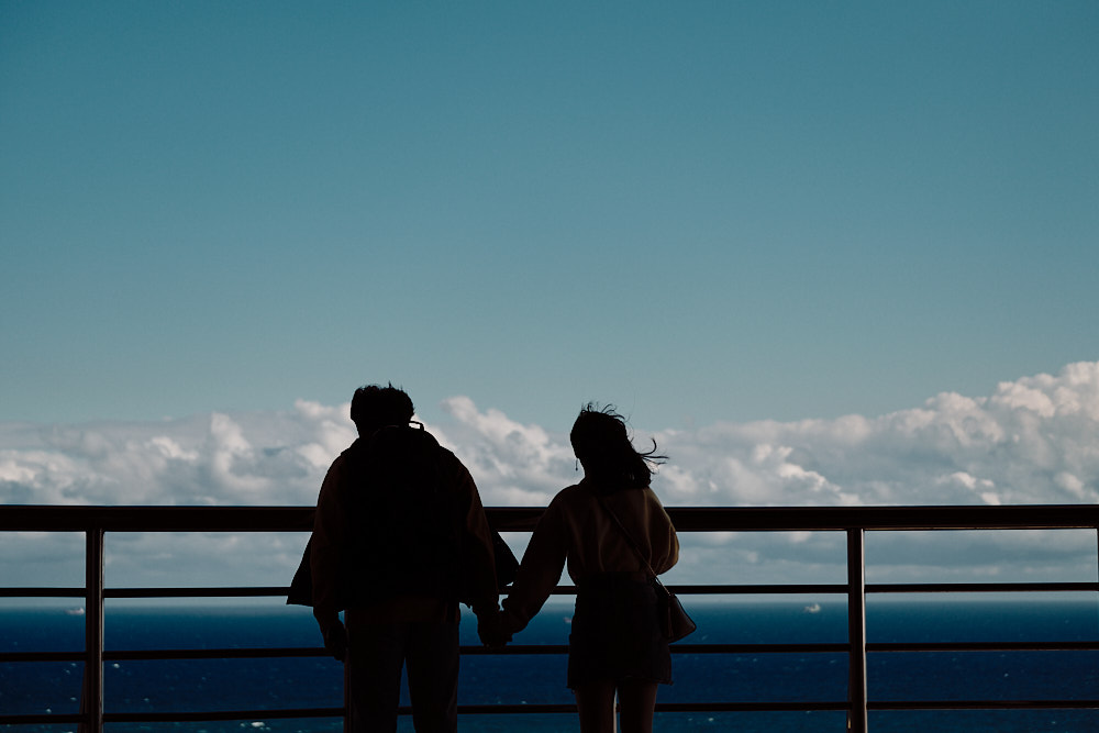 A Couple Looking out at the Ocean, Taejongdae Viewing Point