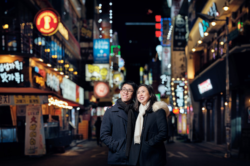 Jongno-2-ga City Lights, Seoul, Pre-Wedding Winter Photo Shoot