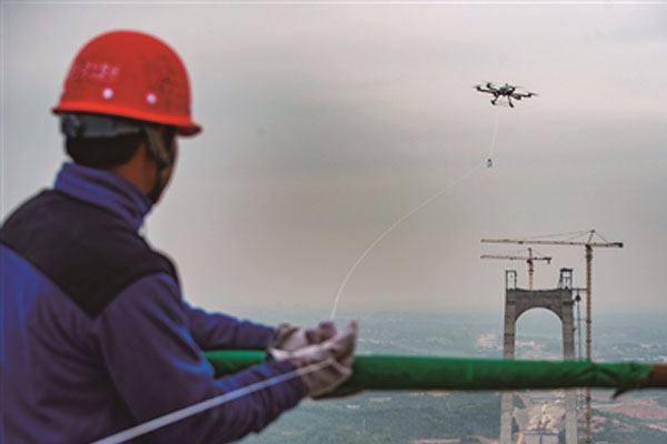 gps drone for bridge cable