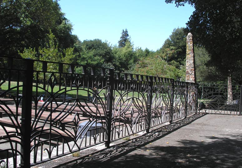 A stretch of decorative fence remains from the park's WPA days
