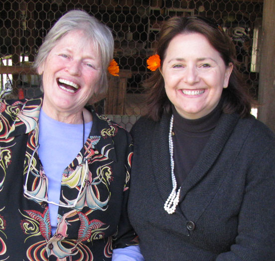 peoples and baker, who host the Cooking conference on The WELL, have a post-prandial giggle.