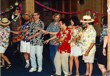 """Oh, did anyone mention the wonderful aloha shirted hula line!"" -- (goodston)"