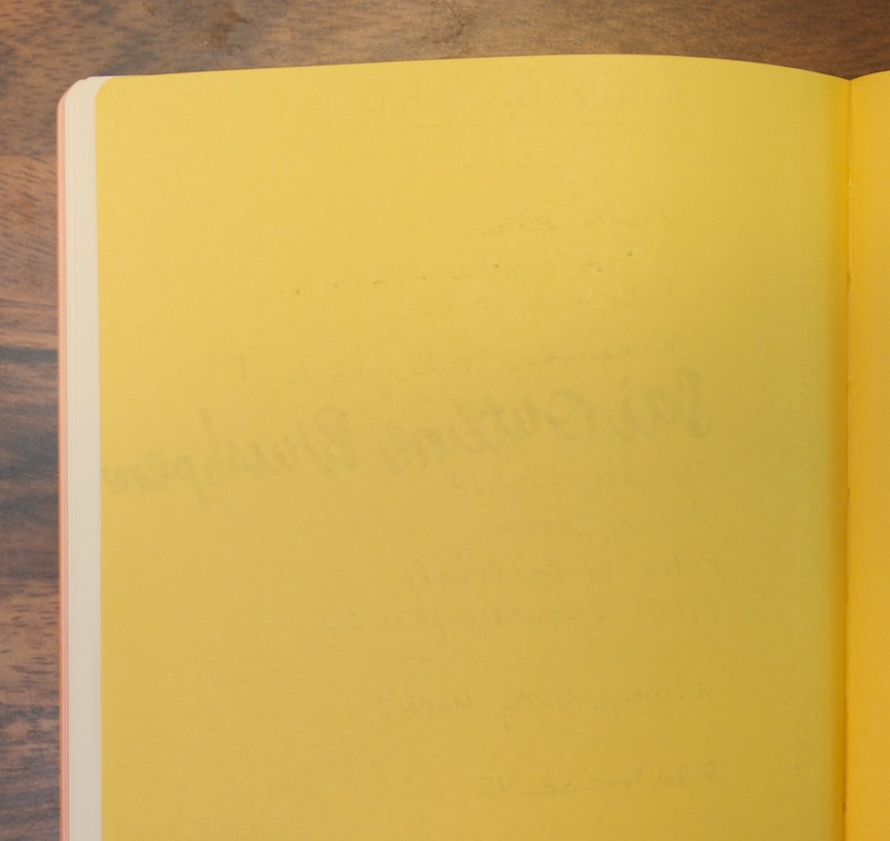 Reverse of writing sample, Dots Notebook