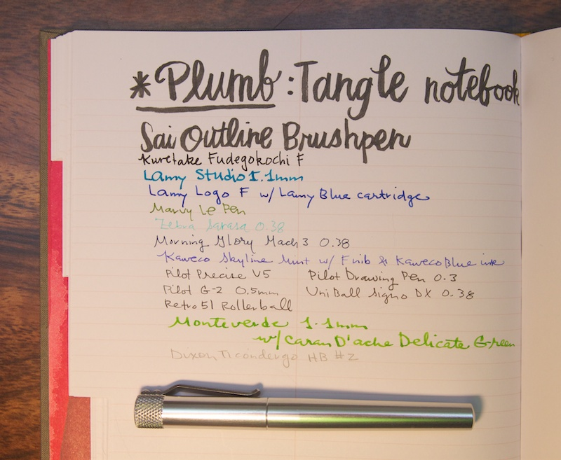Tangle Notebook writing samples