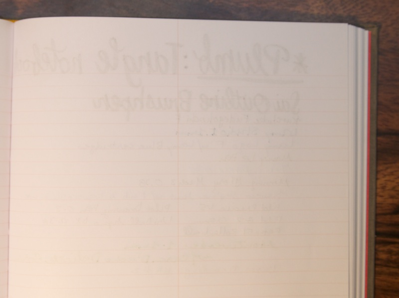 Reverse of writing sample for Tangle Notebook