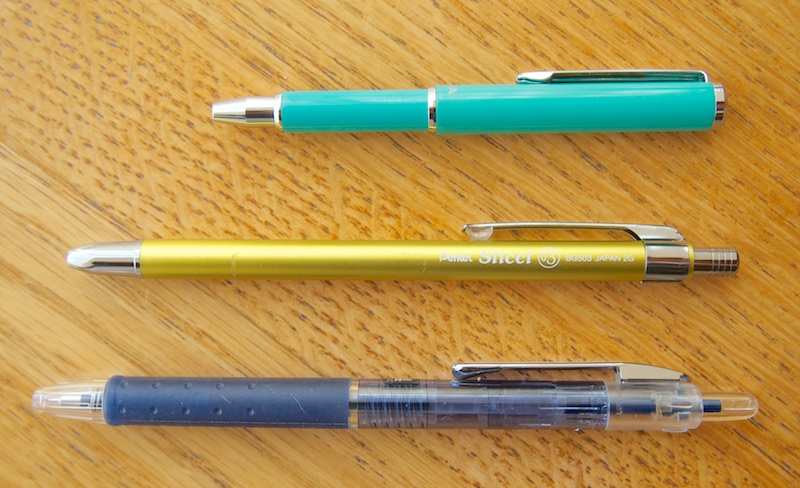 Zebra Mini Ballpoint Pentel Slicci Mini and Pilot Hi-Tec C Slim Knock