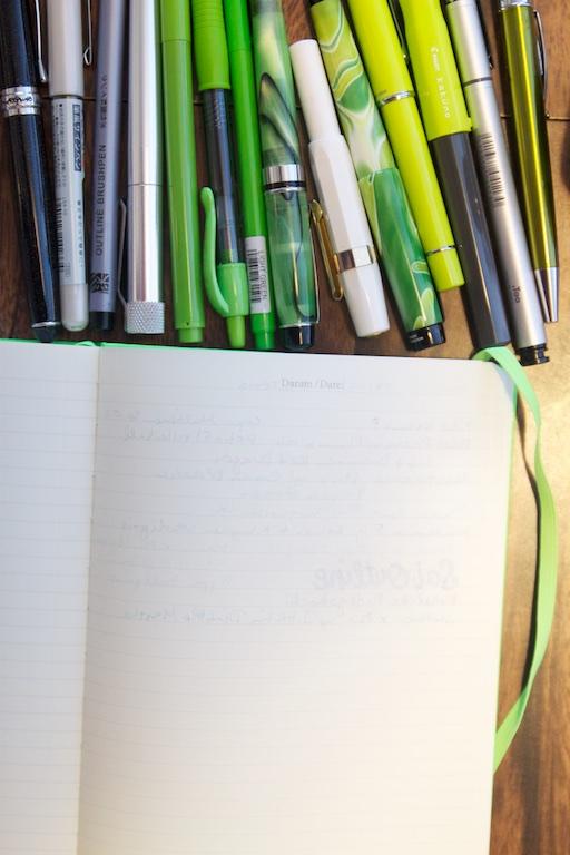 Leuchtturm 1917 Neon Green Notebook writing sample reverse side