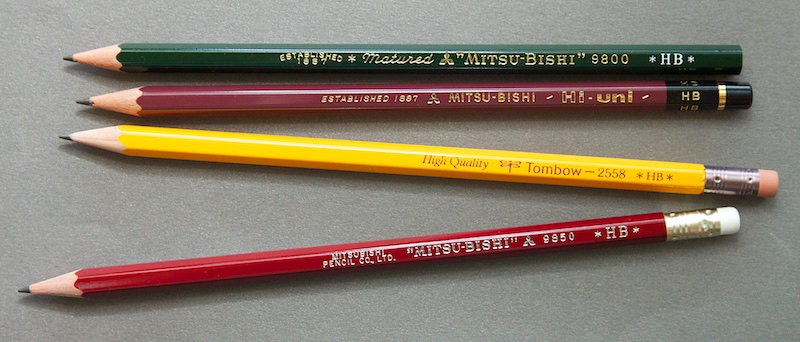 Japanese pencil comparison: Mitsubishi, Hi-Uni and Tombow