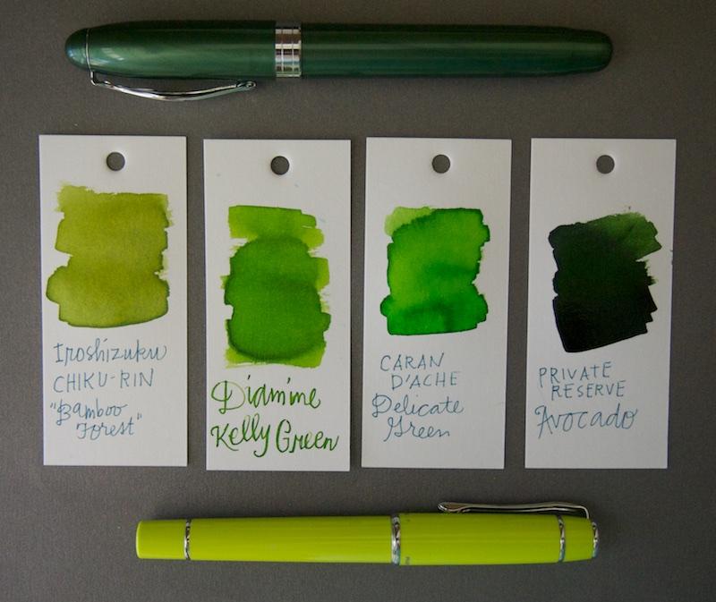 Diamine Kelly Green Ink Comparison