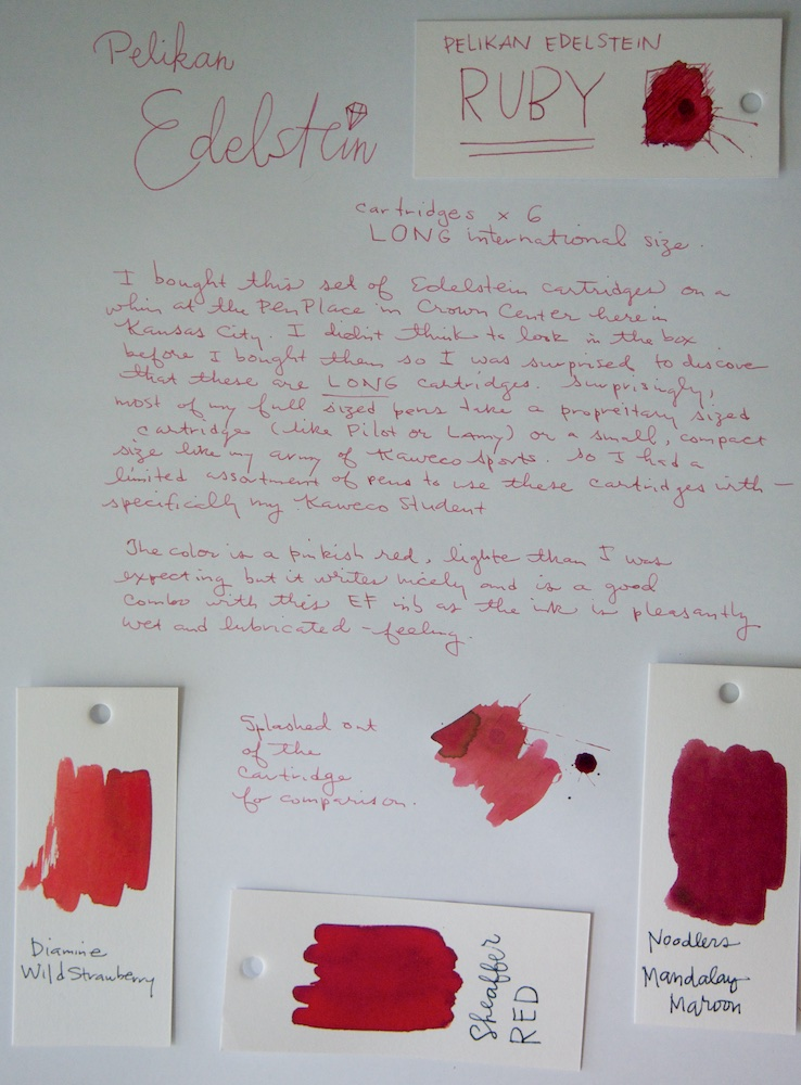 Pelikan Edelstein Ruby ink writing samples