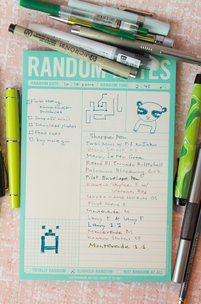 Knock Knock Random Notes Pad Writing Sample